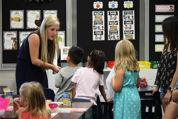 Maize USD 266 students meet their teacher on the first day of school in August 2017.