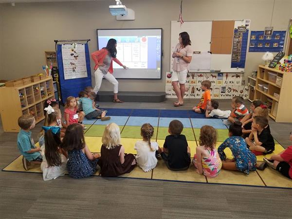 Students and teachers learn in the Maize Early Childhood Center on its opening day in August 2017.