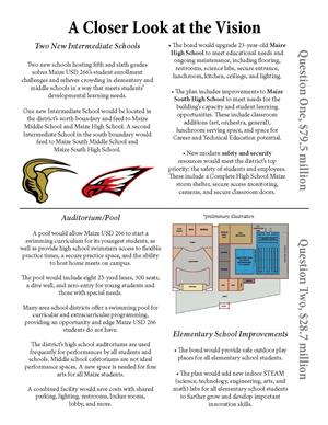 Page 2 of the Maize USD 266 Aug. 27 bond issue informational flyer