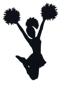 Image of jumping Cheerleader black and white