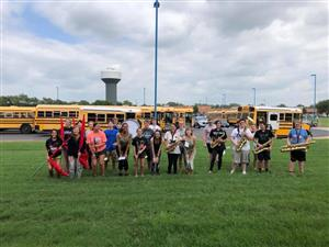 MHS mini pep band played for elementary students as they boarded buses today while Mr. Tysick and Ms. Goss handed out flyers encouraging kids to join 5th grade band!