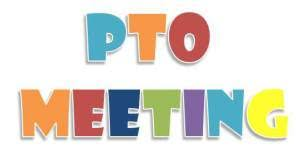 PTO Meeting colorful image of text