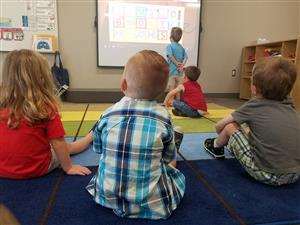 Maize Early Childhood Center students get to work on the first day of school in August 2017.