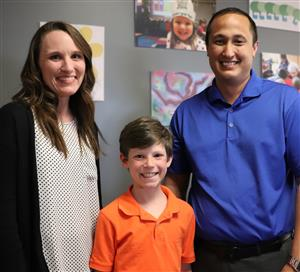 Maize South Elementary School's Stephany McClellan, Glen Shafer, and Keegan Dalton