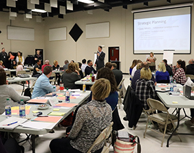 Dr. Chad Higgins, Superintendent of Schools, speaks during a Feb. 5 strategic planning meeting.