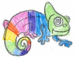 Vermillion Elementary School students submitted this colorful chameleon for the school's mascot contest.