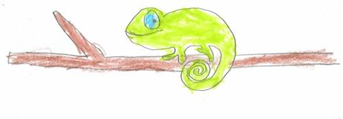 Vermillion first-grade student Graham Yocam submitted this smiling chameleon.